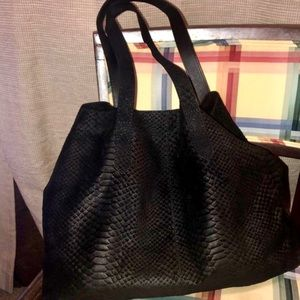Black suede python leather purse Chinese laundry